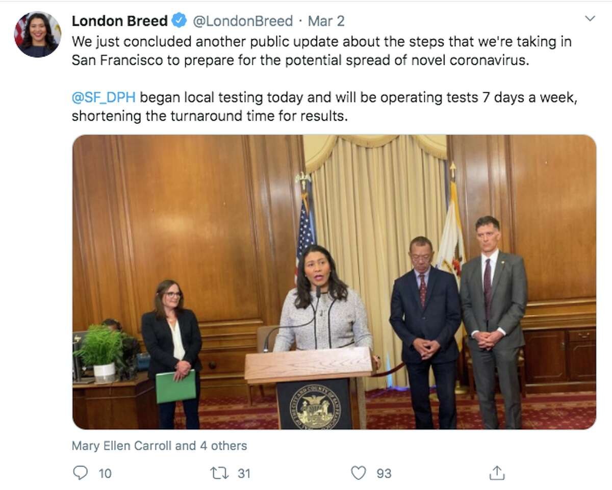 San Francisco Mayor London Breed warned residents about the coronavirus on March 2, 2020.