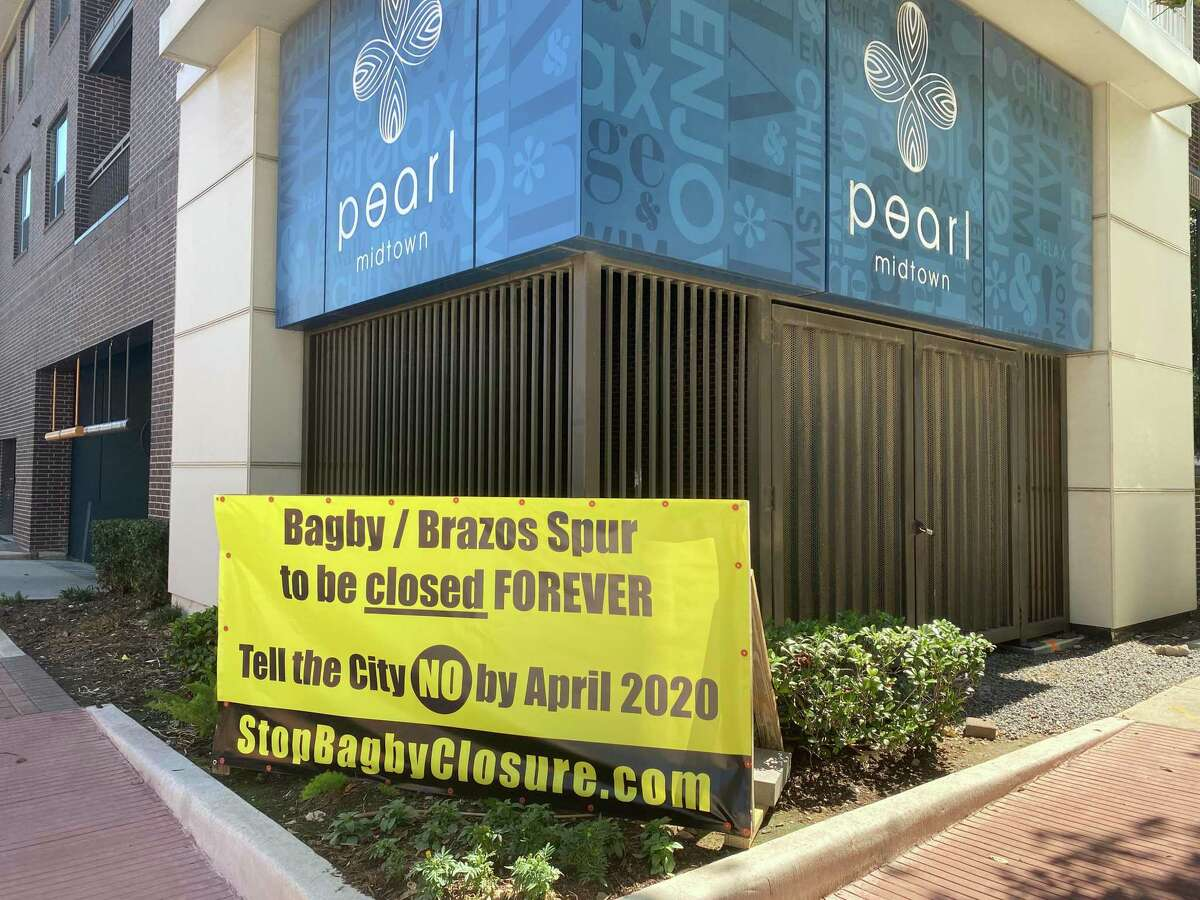 In March, these signs were posted throughout Midtown and Montrose. This one, near the corner of Smith and Rosalie, is on the property of the Pearl Midtown, which was developed by the Morgan Group.