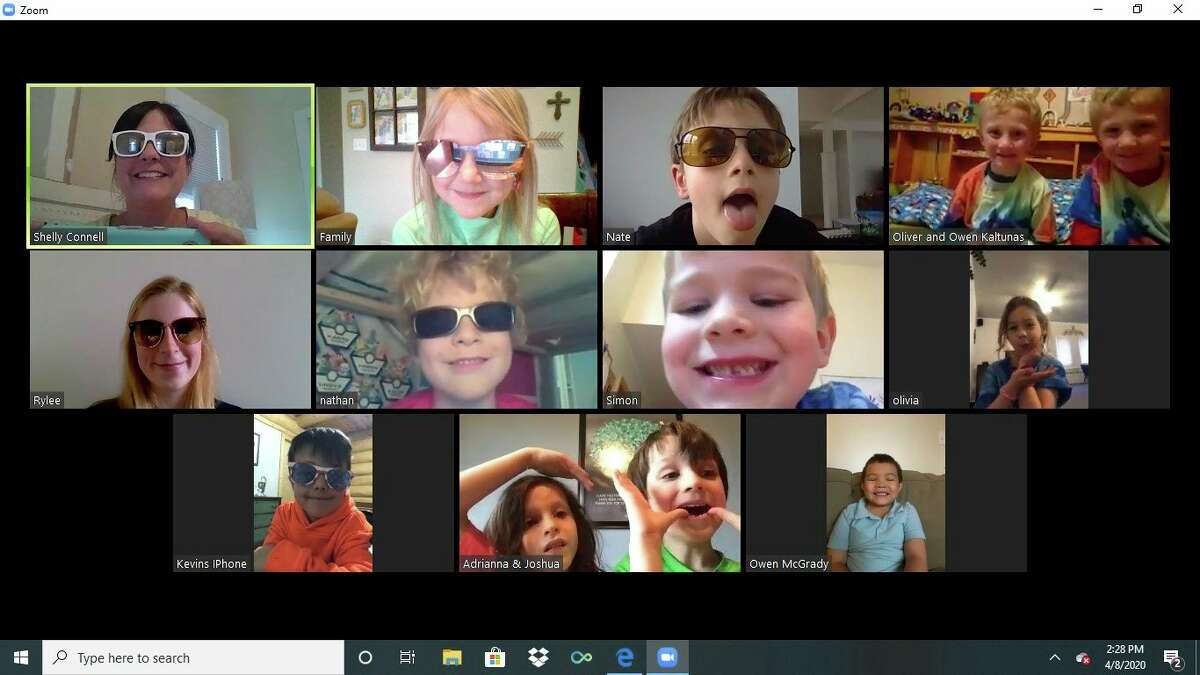 Distance learning at Manistee Catholic Central right now means the kindergarten class meets on Zoom to talk with their teacher and each other about their lessons. (Courtesy photo)
