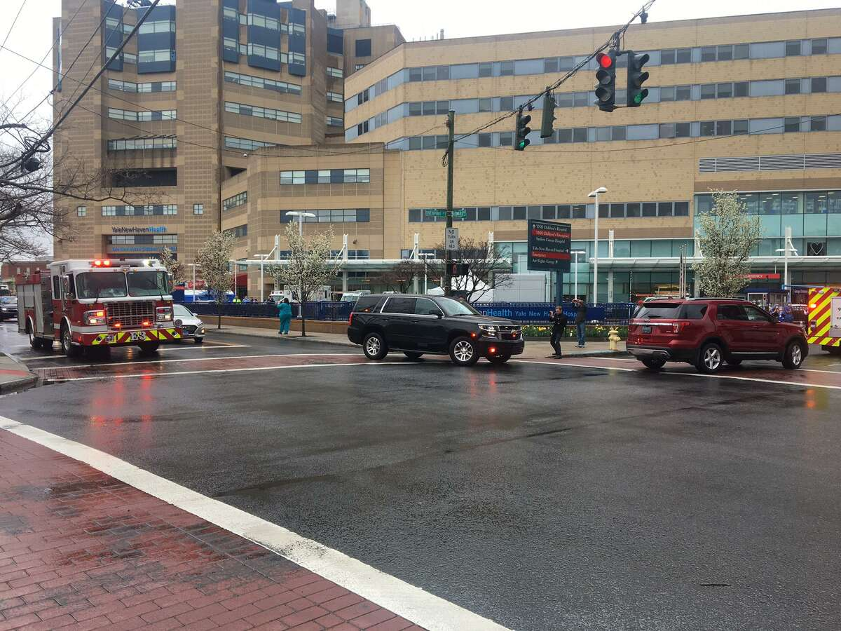 Firefighters from across the region visited Yale New Haven Hospital Thursday to express gratitude for the efforts of hospital workers during the coronavirus outbreak.