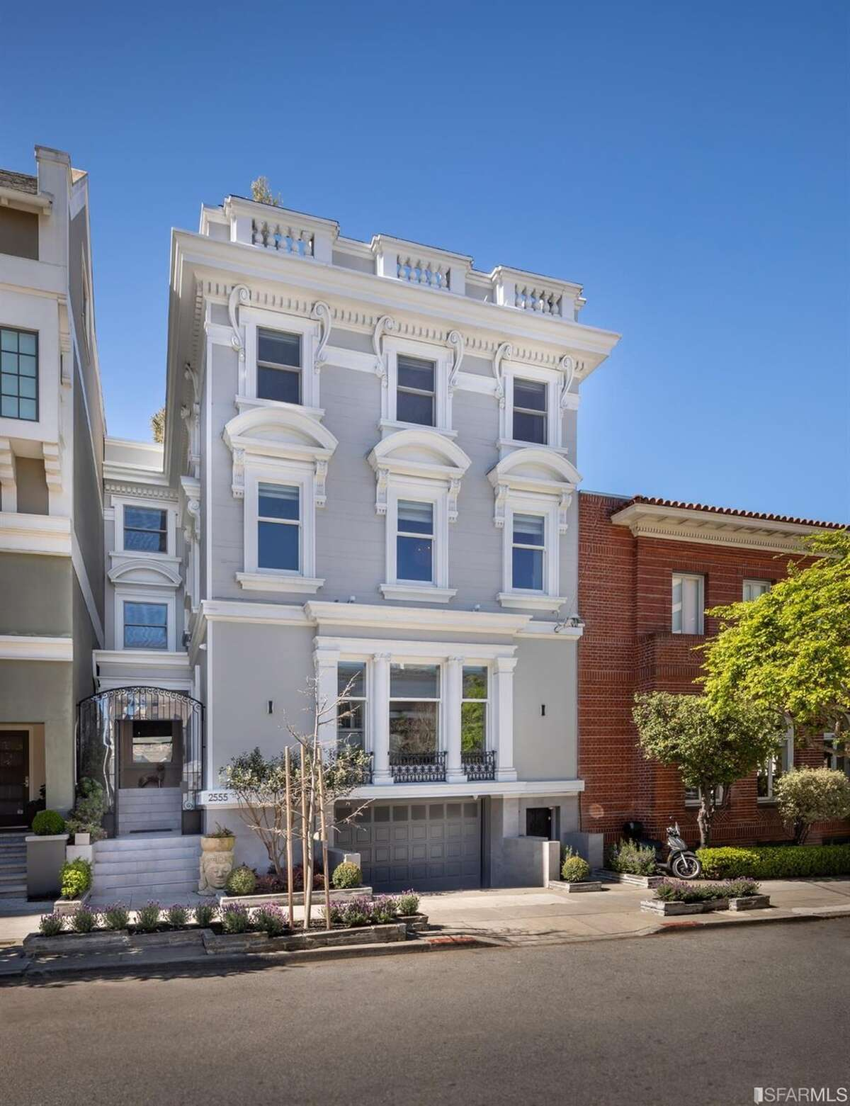 This just-renovated Pac Heights mansion with an indoor swimming pool sold for $11 million. It has a Julius Kraft-designed facade.