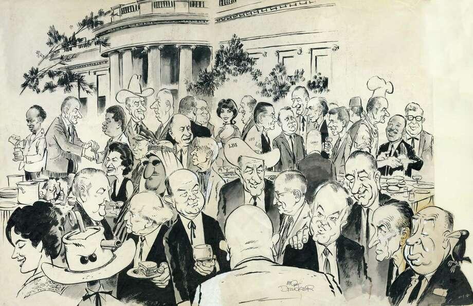 "A 1966 illustration by Mort Drucker titled ""Hello, Lyndon"" or ""My Fair Lady Bird."" Photo: Image By Mort Drucker Courtesy Of David Apatoff / Mort Drucker"