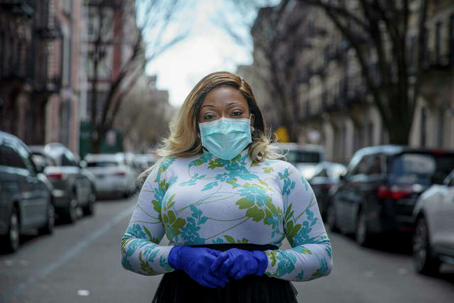 """In this Hearst file photo: Tiffany Pinckney poses for a portrait in the Harlem neighborhood of New York on April 1, 2020. After a period of quarantine at home separated from her children, she has recovered from COVID-19. Pinckney became one of the nations first donors of """"convalescent plasma."""" Using the blood product is experimental but scientists hope it could help treat the seriously ill and plan to test if it might offer some protection against infection for those at high risk. Photo: Marshall Ritzell 