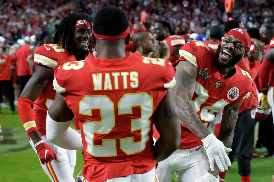 FILE - In this Feb. 2, 2020, file photo, Kansas City Chiefs' Armani Watts (23) celebrates with Alex Brown, left, and Jordan Lucas during the second half of the NFL Super Bowl 54 football game against the San Francisco 49ers in Miami Gardens, Fla.  Last month was set to stage what would have been its first-ever combine exclusively for football players from Historically Black College and Universities that didn't receive invites to the NFL Combine in Indianapolis. But that event was one of the many cancellation casualties of the coronavirus pandemic. (AP Photo/Mark Humphrey, File) Photo: Mark Humphrey / Copyright 2020 The Associated Press. All rights reserved.