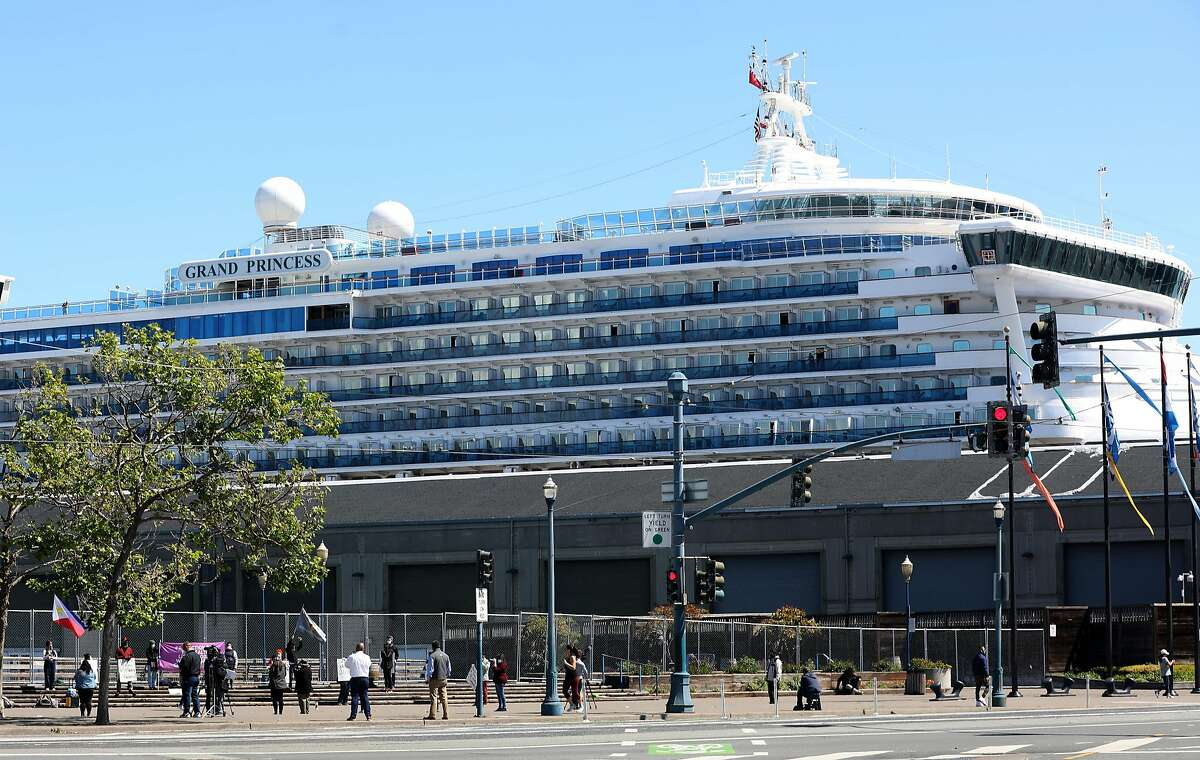 The Grand Princess docks at Pier 35 for resupply seen on Tuesday, April 7, 2020, in San Francisco, Calif.