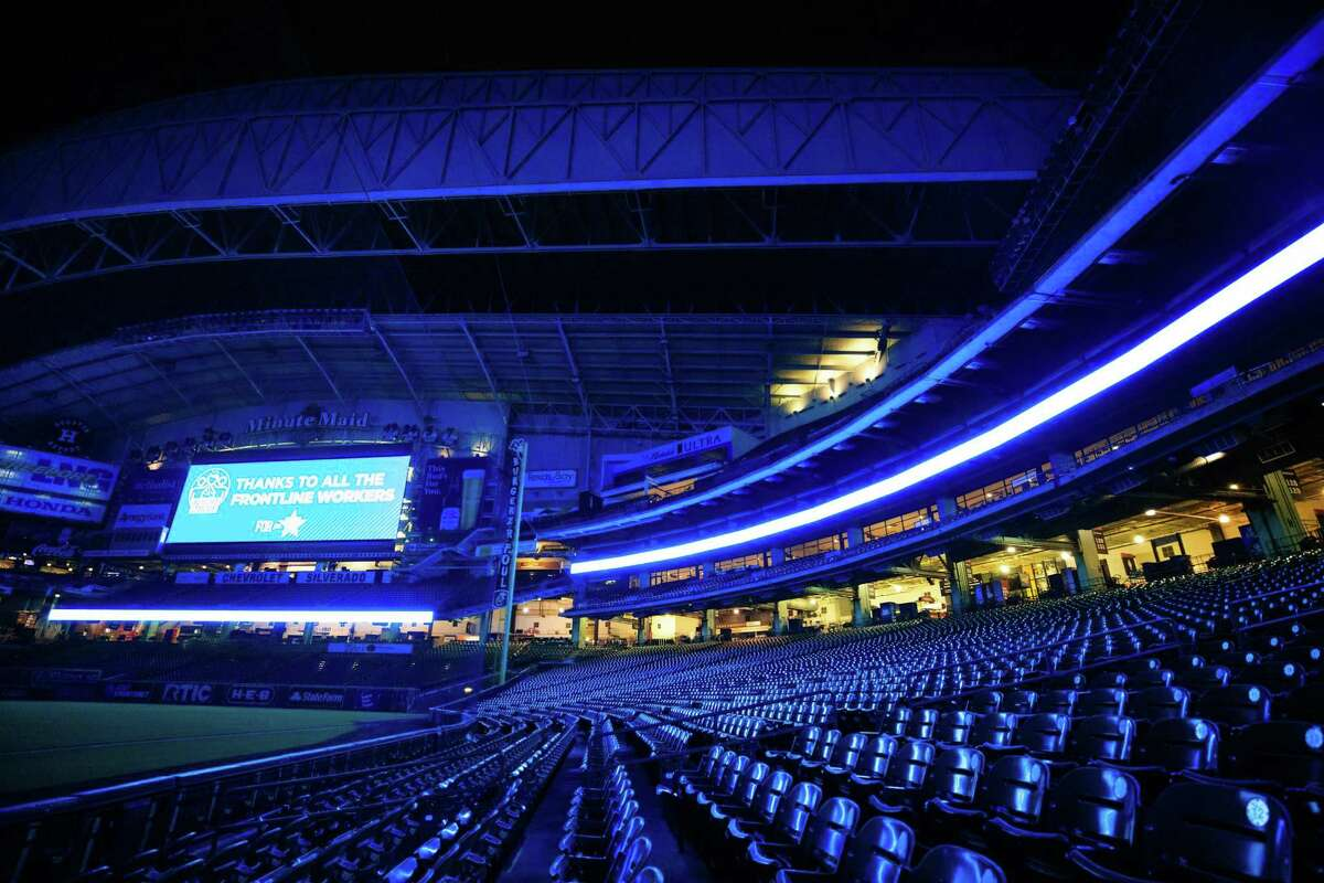 PHOTOS: A look at stadiums and landmarks around the country that were lit blue Thursday night The Houston Astros' Minute Maid Park was lit blue to honor those working on the front line of the coronavirus pandemic on Thursday, April 9, 2020. Browse through the photos for a look at landmarks lit blue around Houston and all around the country ...