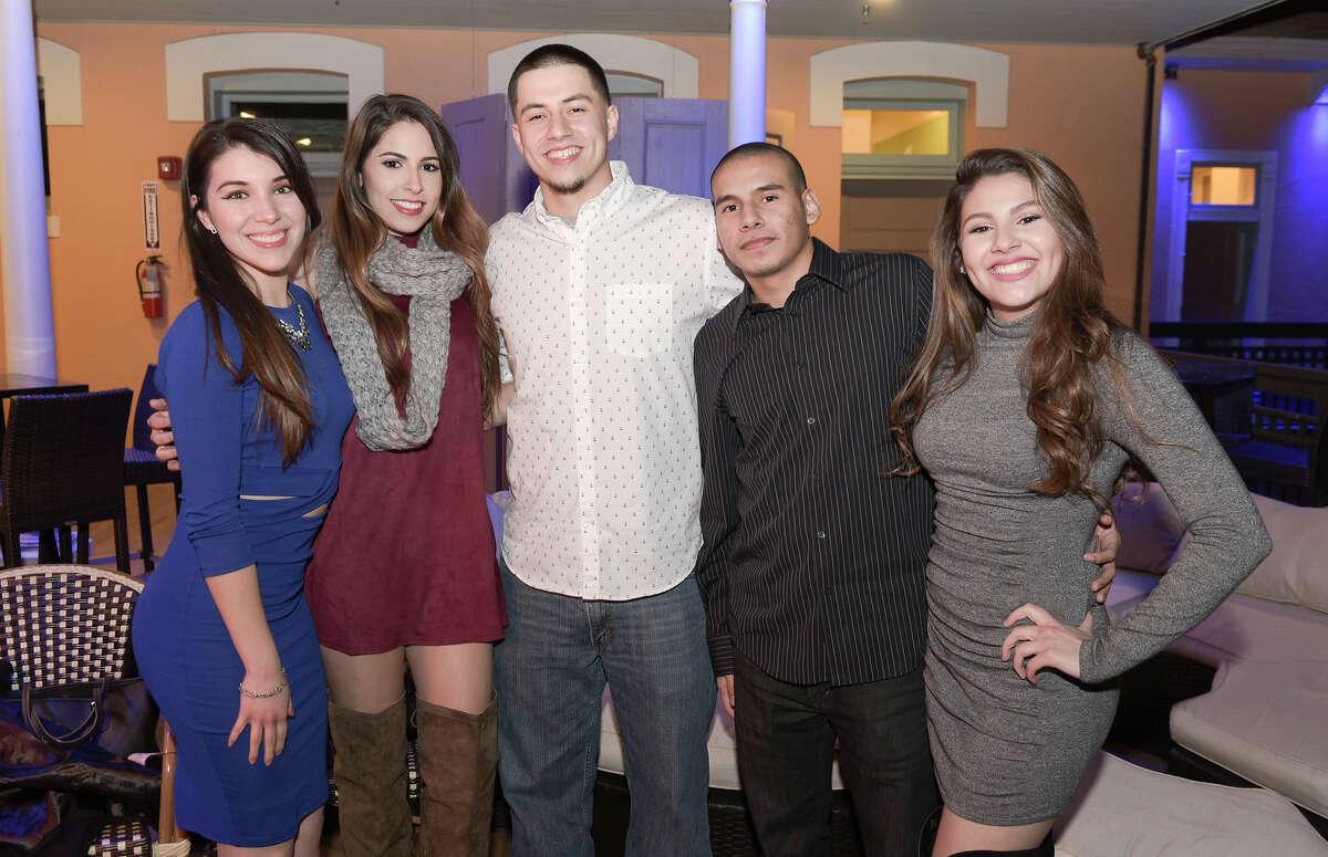 Crystal Salinas, Miriam Almeida, Anthony Alba, Carlos Ortiz and Valerie Almeida at Siete Banderas. 2016