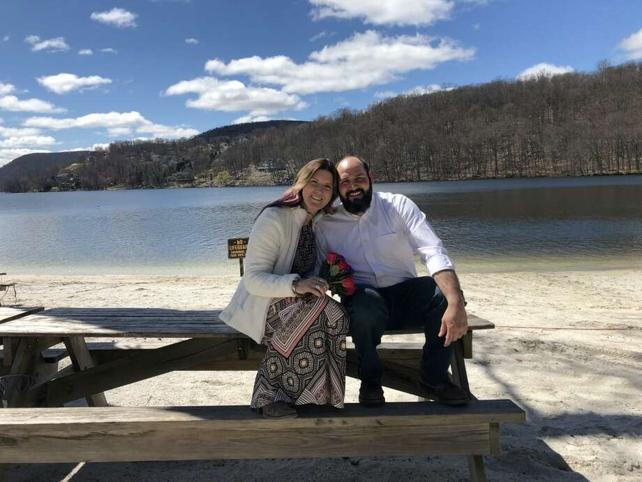 Kit Nielsen and Jeff Yates, after their wedding at Candlewood Lake on April 4. Photo: Contributed Photo / / Wilton Bulletin Contributed
