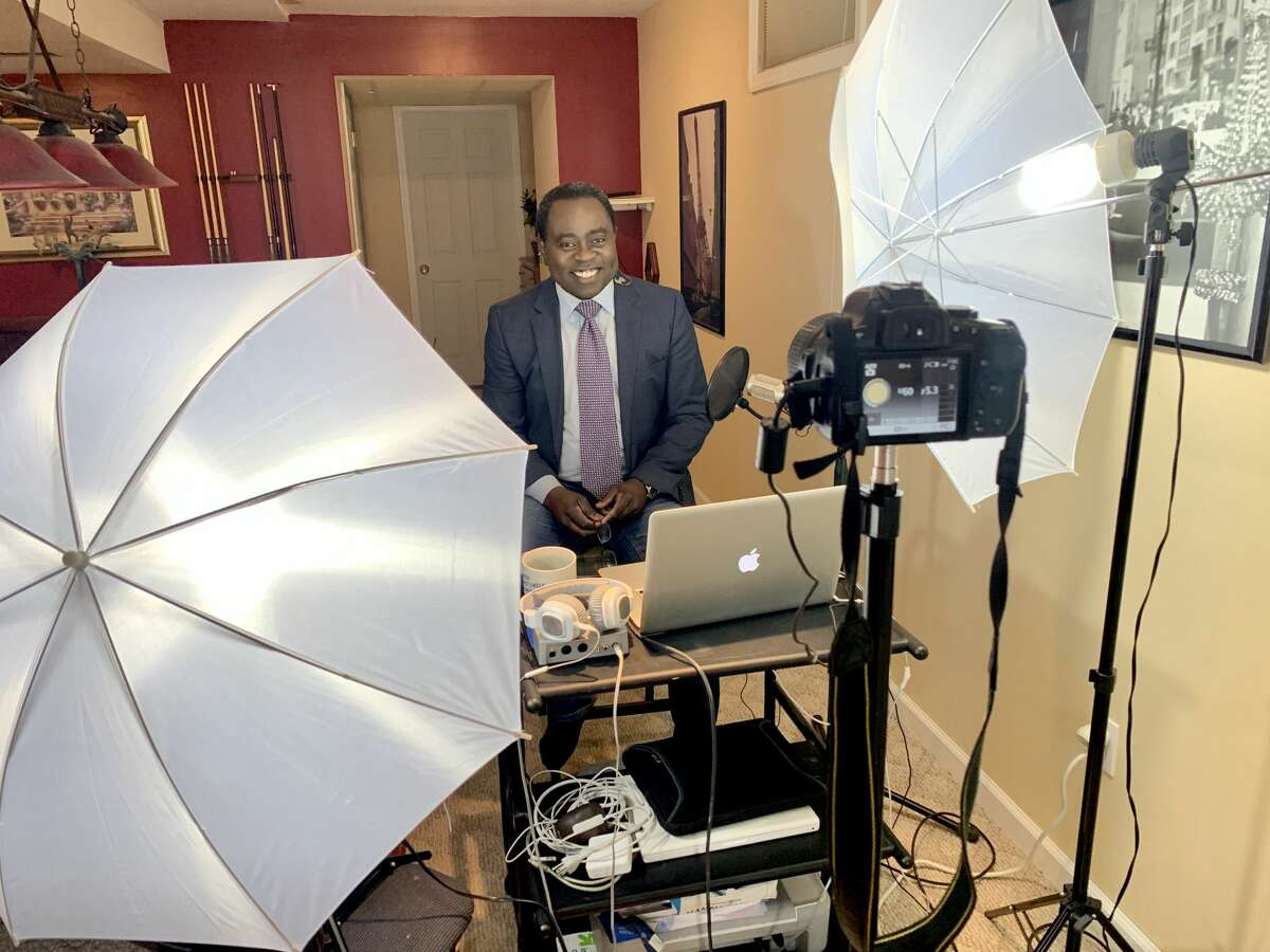 Spectrum News anchor, host and reporter Dan Bazile broadcasts live from home.