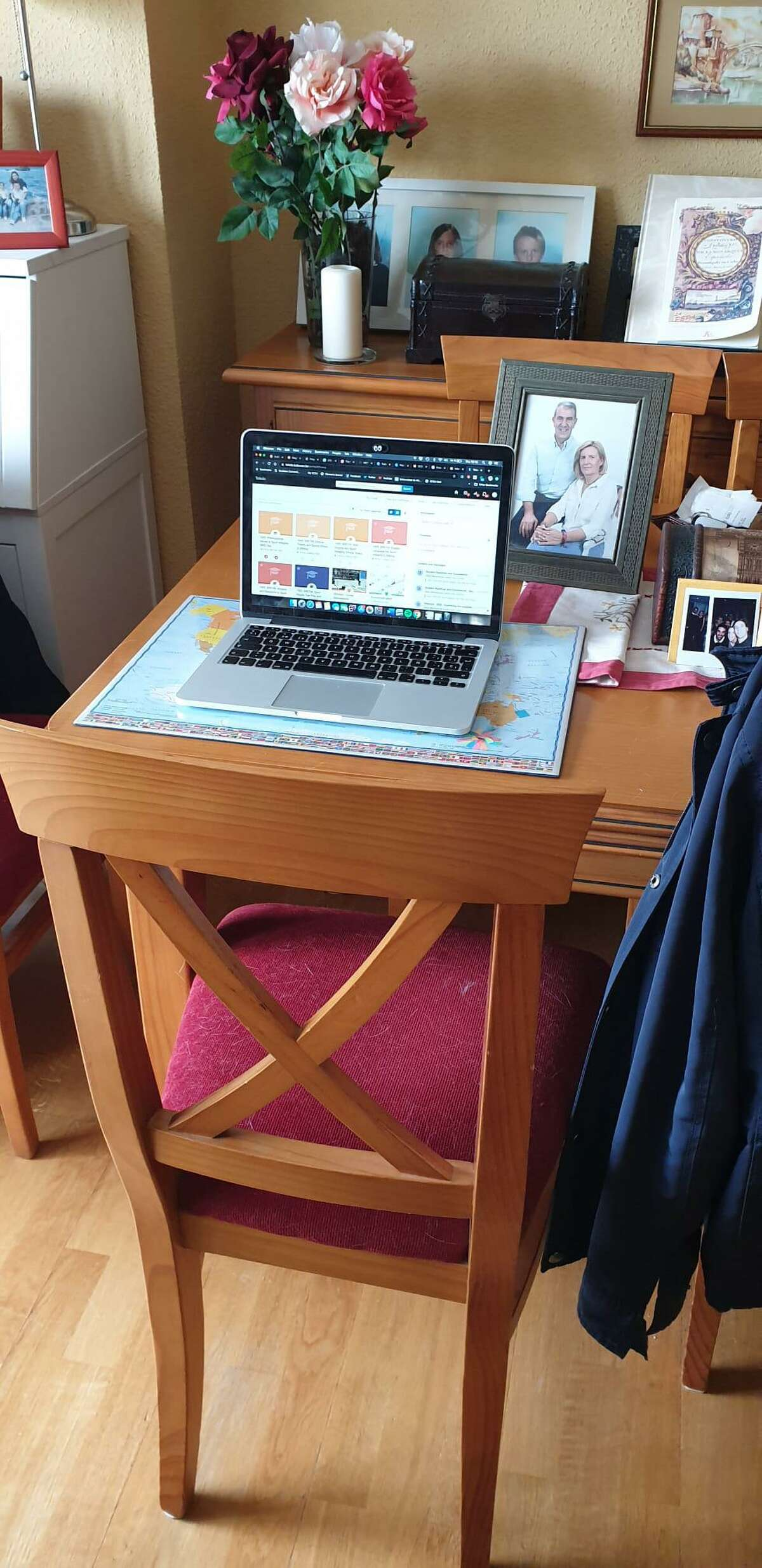 Vicky Conde, a 2017 graduate from Southern Connecticut State University, shows off her workspace in self-isolation in Spain.