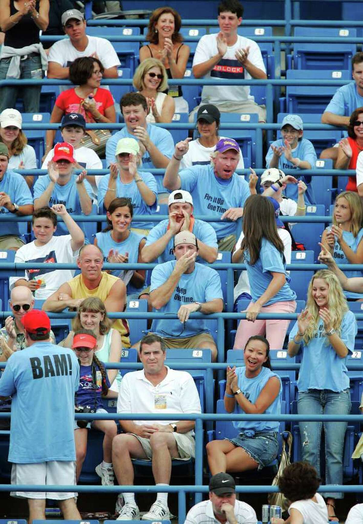 NEW HAVEN, CT - AUGUST 28: James Blake's fans cheer him on against Feliciano Lopez of Spain during the finals of the Pilot Pen Tennis tournament on August 28, 2005 at the Connecticut Tennis Center at Yale in New Haven, Connecticut. (Photo by Brian Bahr/Getty Images)