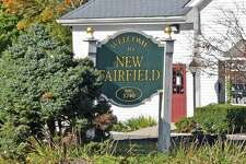 A welcome sign in downtown New Fairfield, Conn.