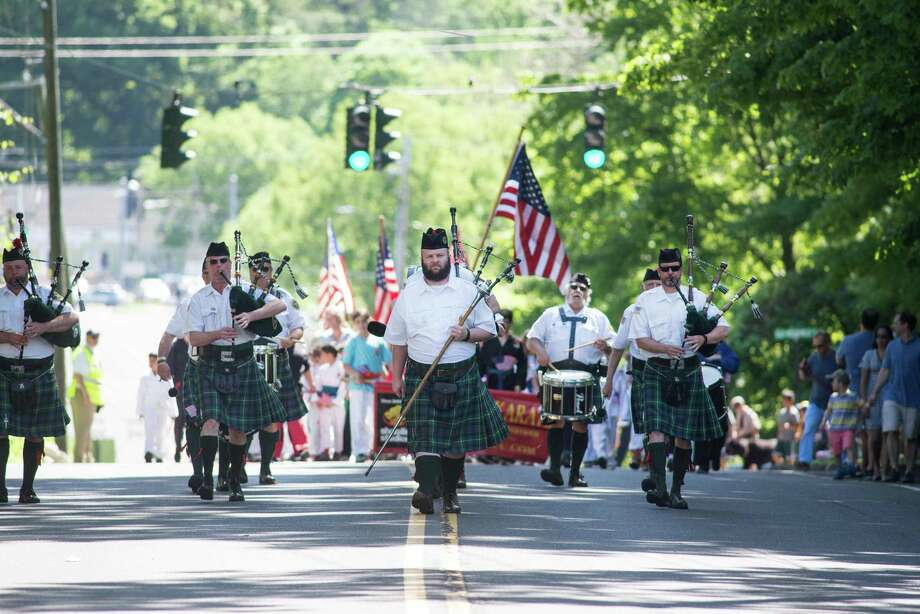 Bagpipers march at the 2019 Memorial Day parade in Wilton. Photo: Bryan Haeffele / Hearst Connecticut Media / Wilton Bulletin
