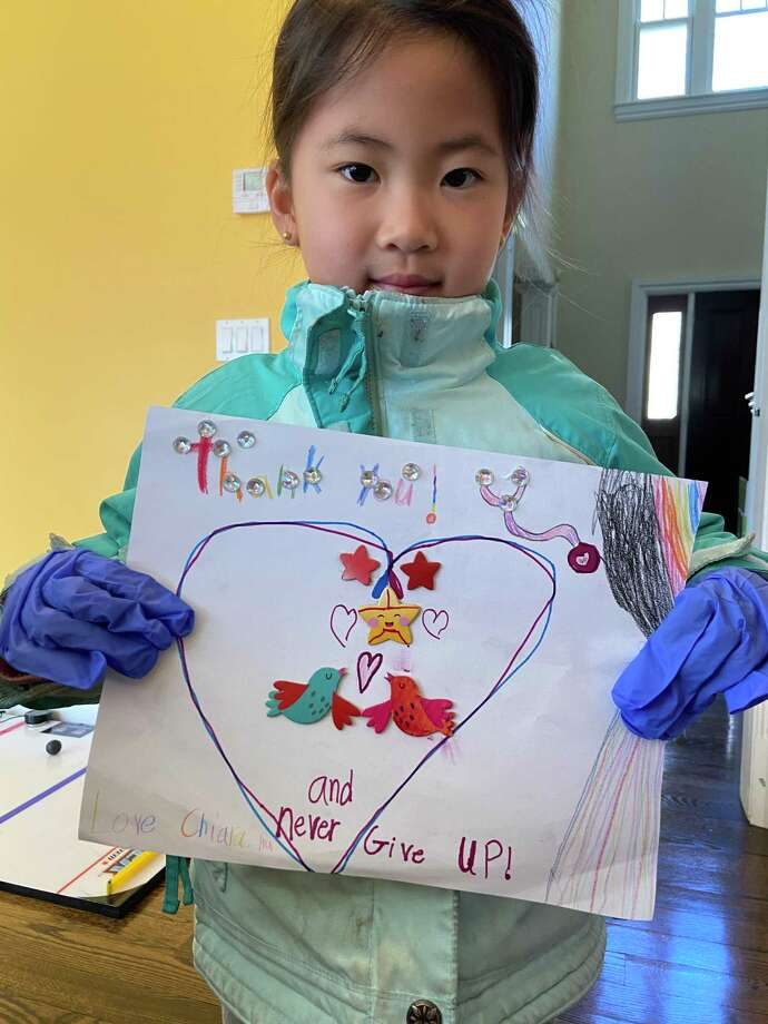 Chiara Hu, a kindergardener at Ox Ridge School, created a thank you note for Stamford Hospital staff. Photo: Contributed /