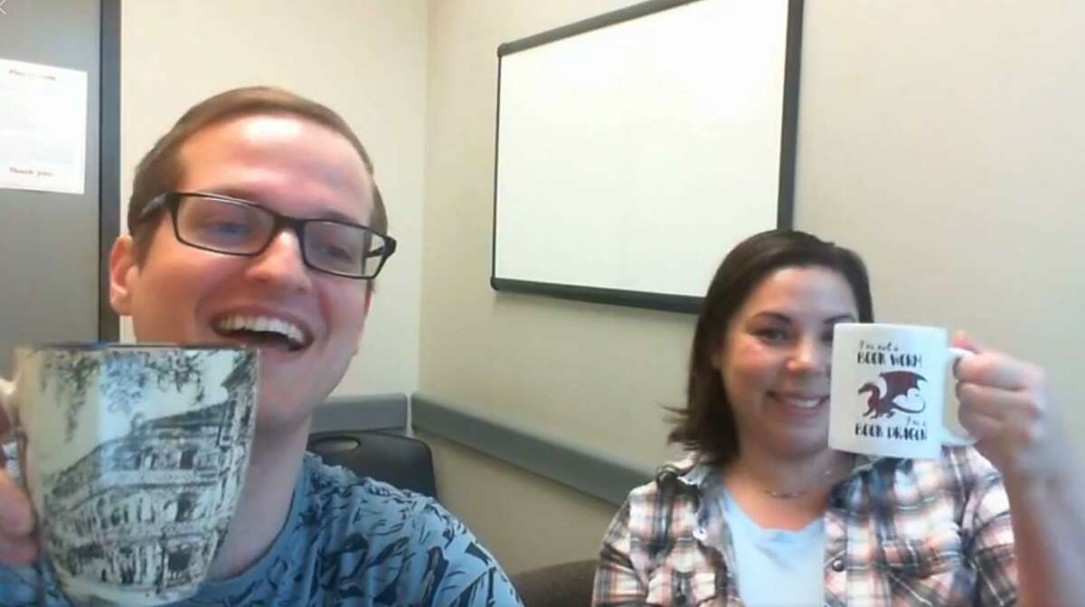 Tomball librarians Nick Lege and Rachael Yates hold a discussion over coffee on March 20. LSC-Tomball Community Library invites patrons to join them for Online Coffee with Nick and Rachael every Friday at 10:30 a.m.