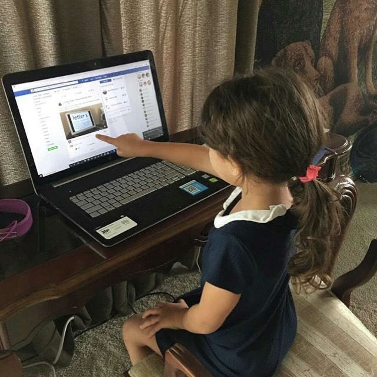 A patron of LSC-Tomball Community Library continues using online library services at home while the branch is closed due to COVID-19.