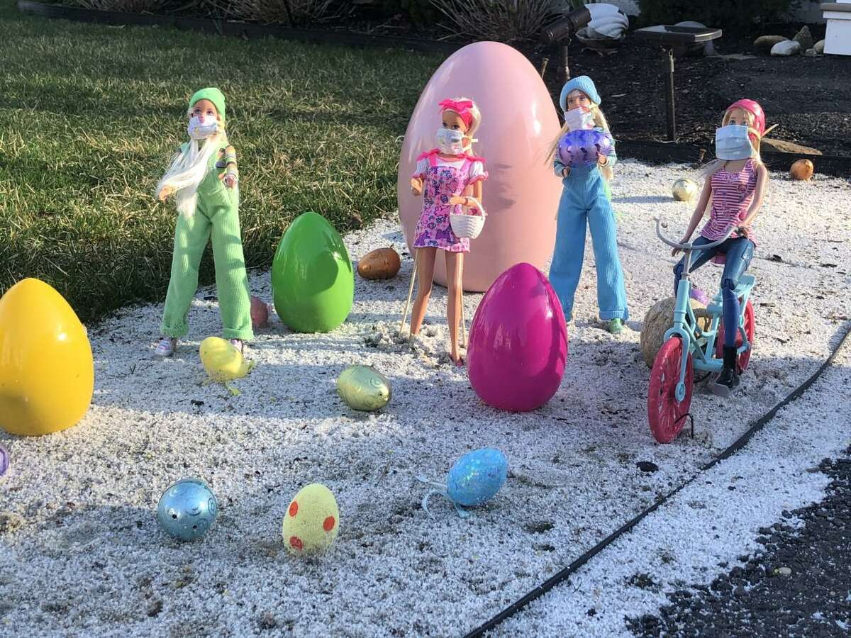 Easter Barbie and friends can be seen sporting masks and practicing social distancing, (6 inches apart = 6 feet apart), in the Devon section of Milford, at 70 Grant St.