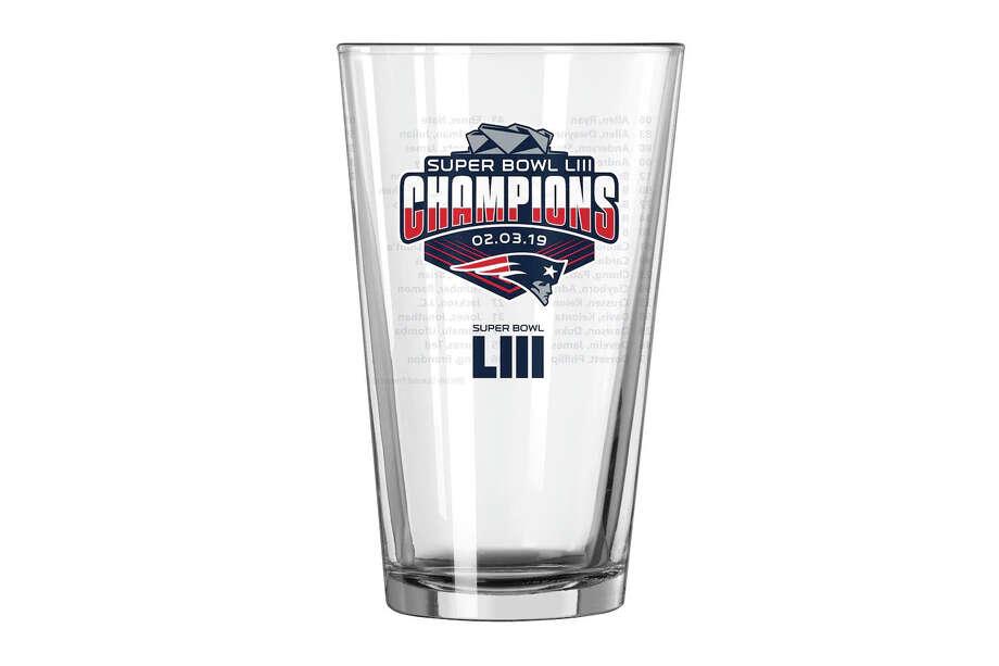 New England Patriots Super Bowl LIII Champions 16oz. Roster Pint Glass, $6.99 Photo: Fanatics