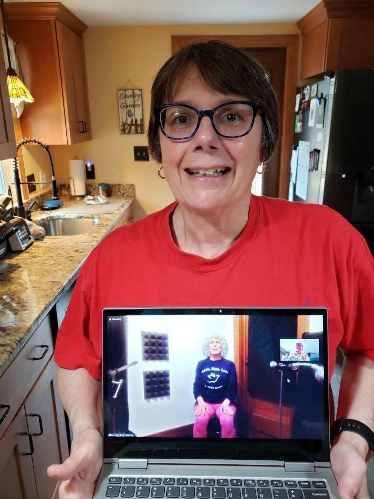 "Marie Thorne, in her Ballston Spa kitchen, with her ""Dance Through Parkinson's"" class leader, Rachelle Smith-Stallman (image courtesy Marie Thorne)"