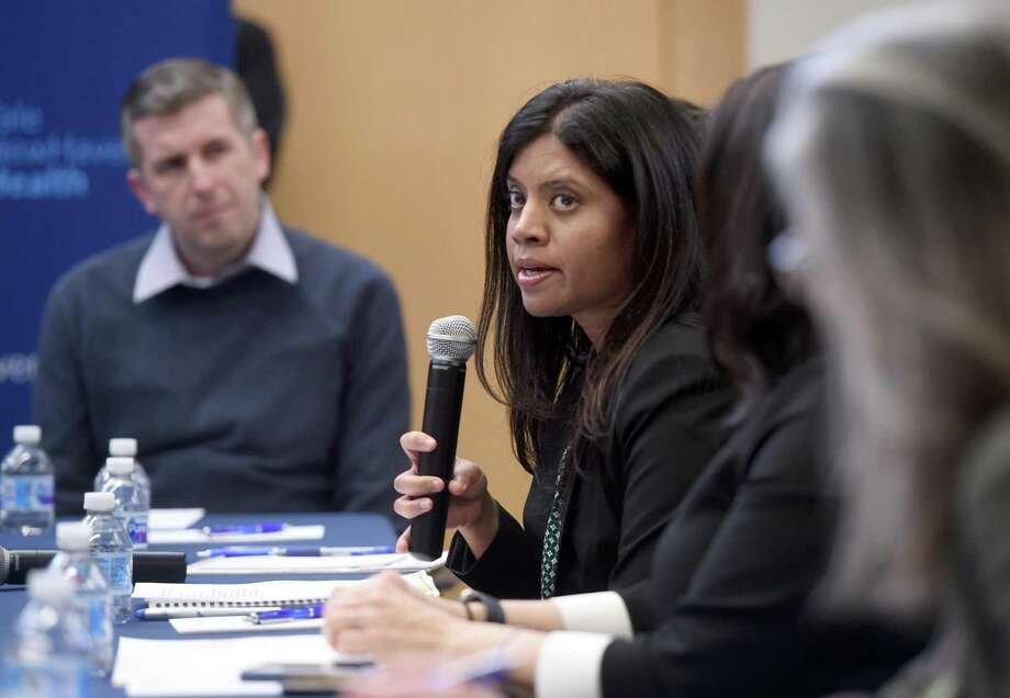 Milford Director of Health Deepa Joseph, center, speaks at a roundtable discussion on the impact of the coronavirus at Bridgeport Hospital's Milford Campus in late February. Photo: Arnold Gold / Hearst Connecticut Media File Photo / New Haven Register