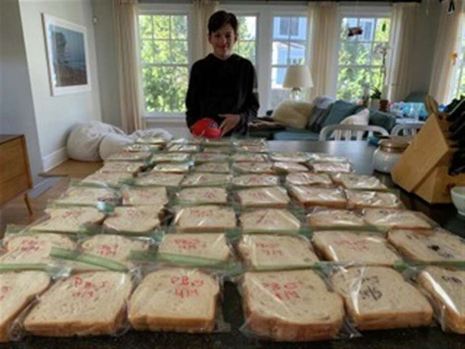Members of the New Canaan Country School and Horizons at Country School community made sandwiches and supplied food items to restock the food pantry at New Covenant Center, one of 10 local nonprofit organizations supported by the sixth annual Kyle A. Markes Day of Service held April 3 & 4. Photo: Contributed Photo