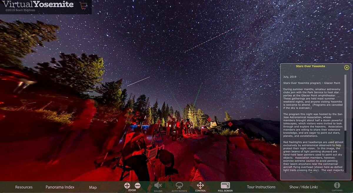 "Screen shot, Glacier Point ""Stars Over Yosemite"" program from the Virtual Yosemite online VR tour. https://www.virtualyosemite.org"