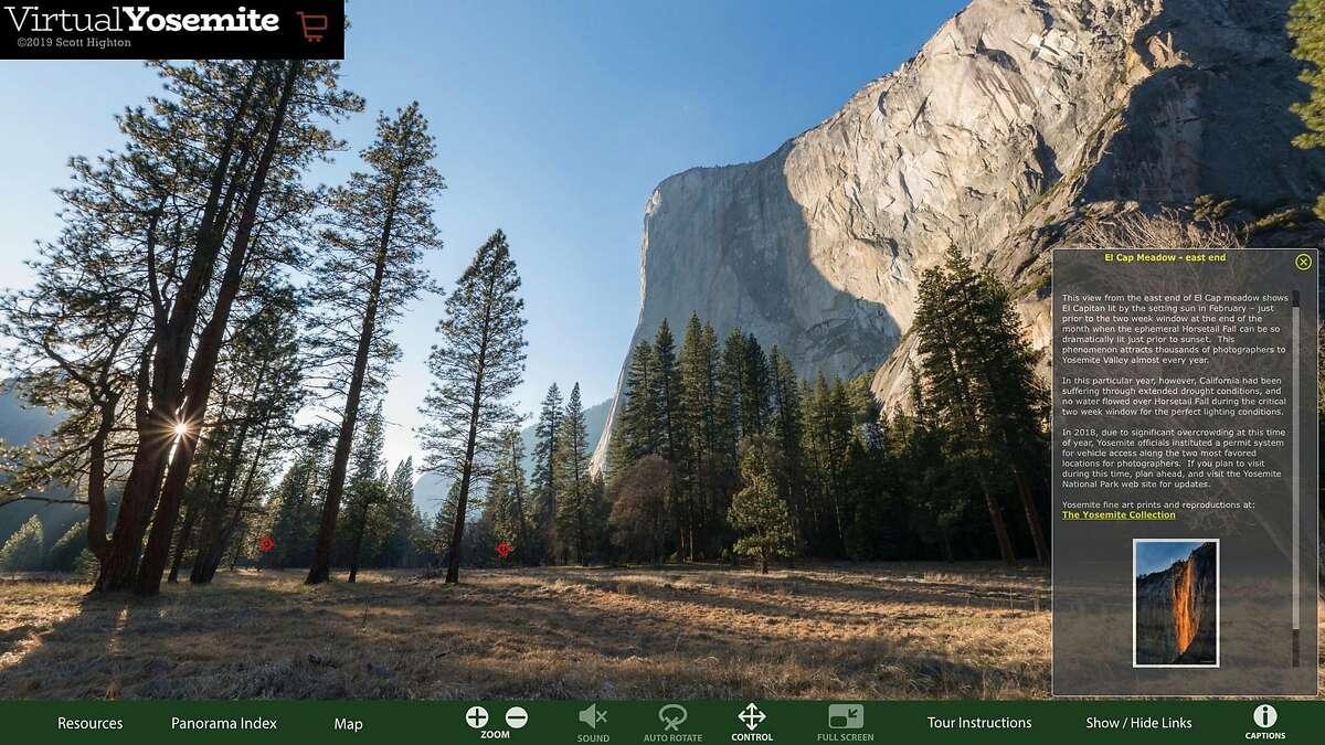 Screen shot, El Capitan Meadow from the Virtual Yosemite online VR tour. https://www.virtualyosemite.org