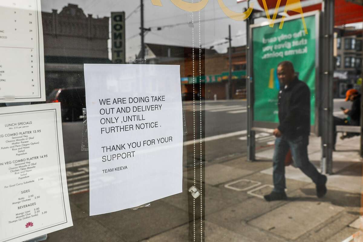Keeva restaurant has a posting saying it is going to only be serving take out and delivery on Clement Street on Tuesday, March 17, 2020 in San Francisco, California. The city is ordered to shelter in place due to the coronavirus.
