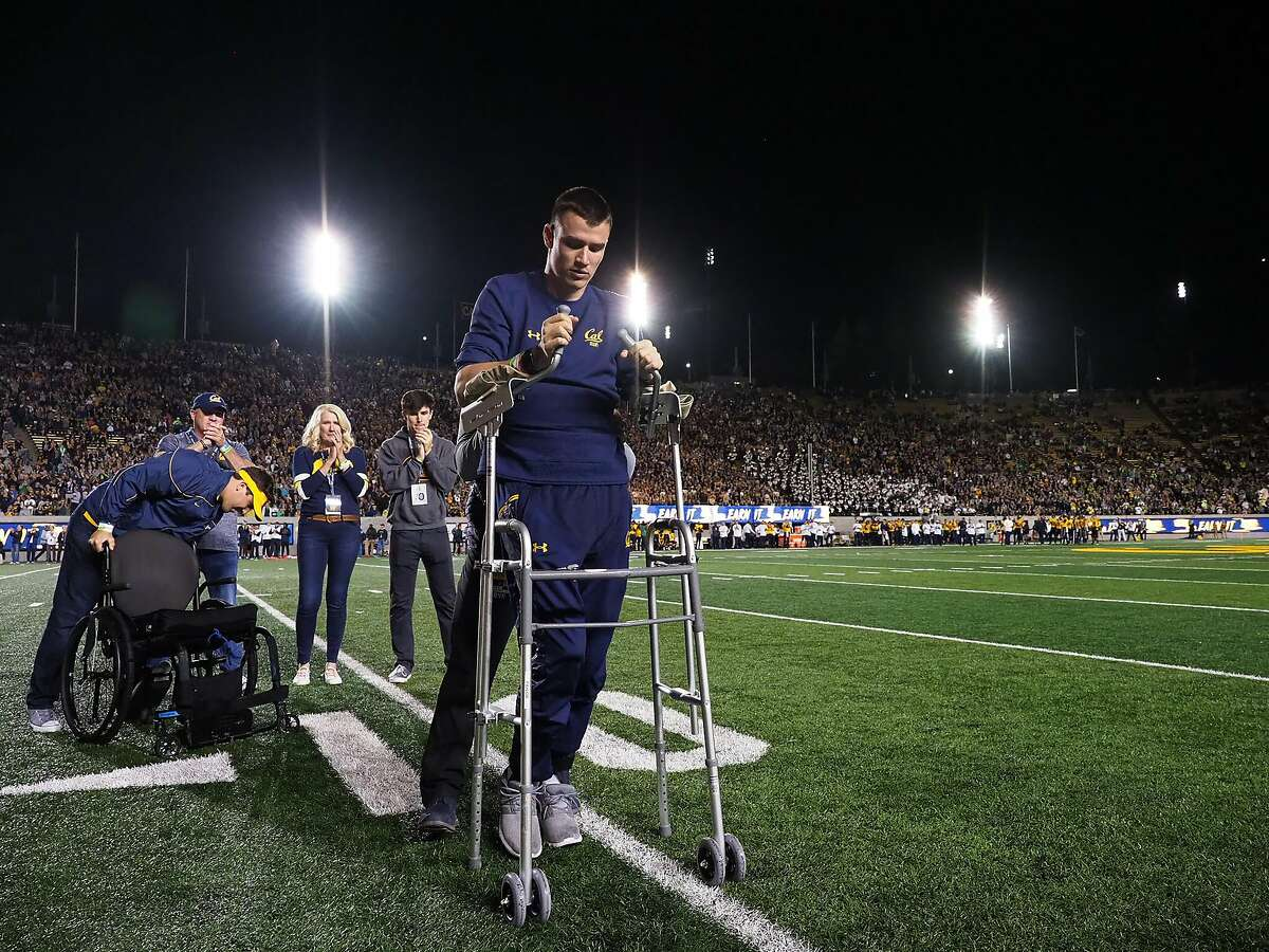 Robert Paylor is honored during a ceremony at a Cal home football game on September 29, 2018 at California Memorial Stadium.