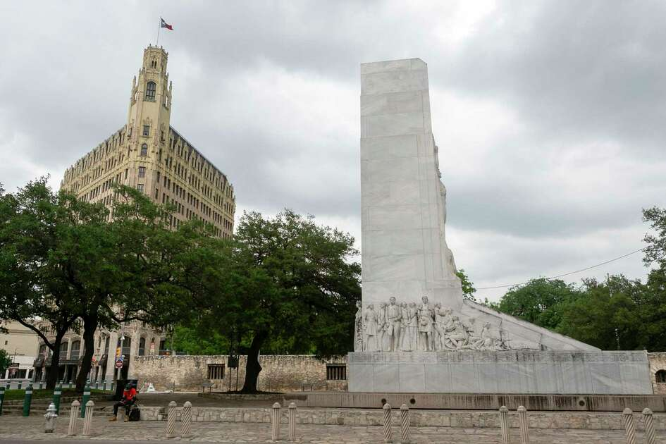 The Cenotaph in Alamo Plaza in San Antonio, Texas as seen on April 9, 2020. Work on improvements to Alamo Plaza is continuing, despite the . This is the $15 million first phase of a larger $450 million makeover of Alamo Plaza also includes utility relocation and planting of trees.