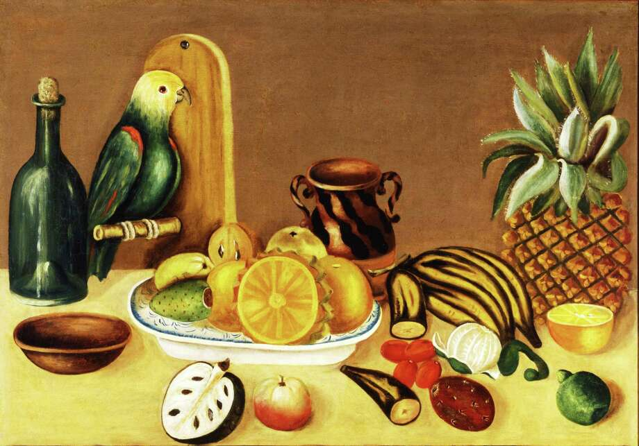 """Still Life With Parrot"" (""Bodegón con loro""), a 19th century oil painting on canvas from Puebla, Mexico. Photo: San Antonio Museum Of Art, The Nelson A. Rockefeller Mexican Folk Art Collection"