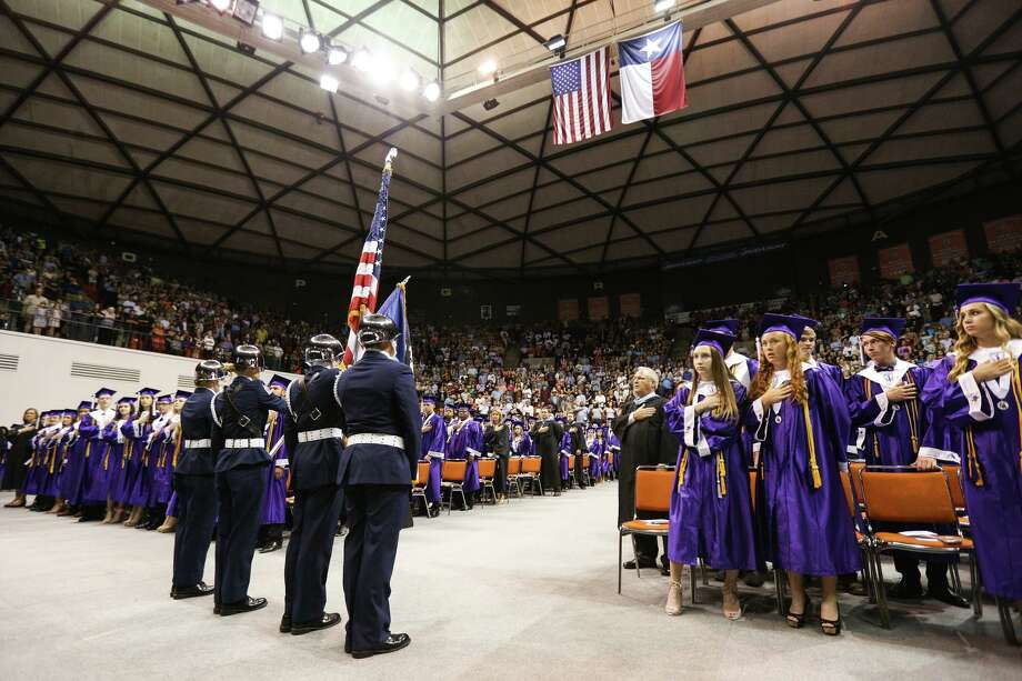 The Willis High School Air Force JROTC present the colors for the national anthem during the commencement ceremony on Friday, May 26, 2017, at Sam Houston State University. Photo: Michael Minasi, Staff Photographer / Houston Chronicle / © 2017 Houston Chronicle