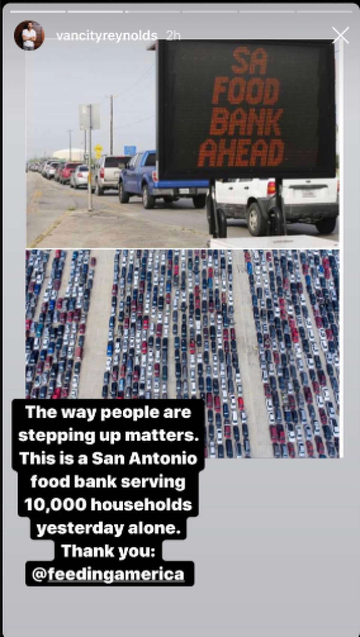On Thursday, a historical amount of people responded to the San Antonio Food Bank's distribution of supplies. The overwhelming moment was captured by San Antonio Express-News photographers in a series of photos that captivated worldwide audiences, including the attention of actor Ryan Reynolds.The Deadpool star shared two Express-News photos, which shows a parking lot full of vehicles, on his official Instagram account Friday afternoon.