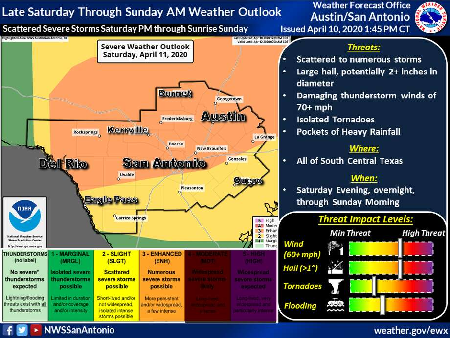 San Antonio residents could experience a series of thunderstorms over Easter weekend, according to the National Weather Service. Photo: National Weather Service