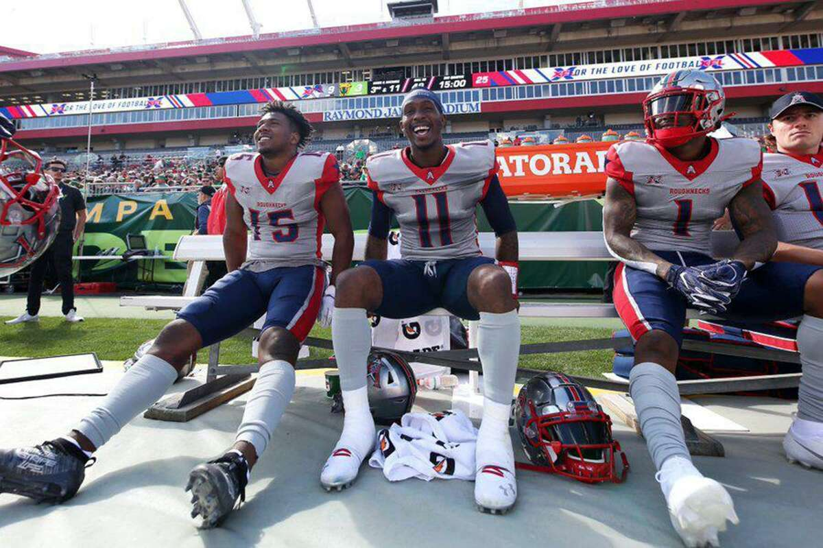 Houston quarterback PJ Walker, center, enjoys a win over Tampa Bay last weekend. The Roughnecks are the league's top team, with a 3-0 record. [XFL PHOTO/TNS]