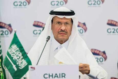 """A handout photo released by the Saudi Energy Ministry on April 10, 2020 shows Saudi Arabia's Energy Minister Abdulaziz bin Salman chairing a virtual extraordinary meeting of G20 Oil ministers, in the capital Riyadh. (Photo by - / Saudi Arabia's Ministry of Energy / AFP) / RESTRICTED TO EDITORIAL USE - MANDATORY CREDIT """"AFP PHOTO/ HANDOUT/SAUDI ENERGY MINISTRY"""" - NO MARKETING - NO ADVERTISING CAMPAIGNS - DISTRIBUTED AS A SERVICE TO CLIENTS (Photo by -/Saudi Arabia's Ministry of Energ/AFP via Getty Images)"""