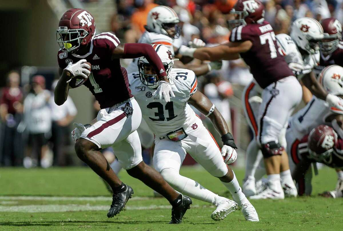 Texas A&M receiver Quartney Davis, running after a catch against Auburn this season, is trying to move his way up the draft charts.