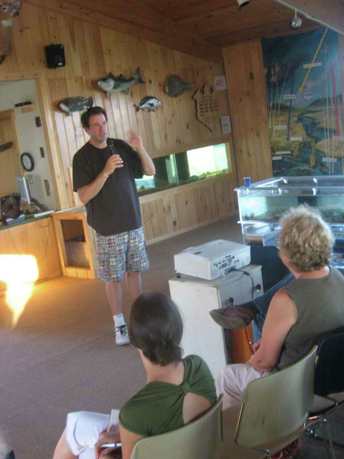 Dan Levinson, co-founder of Westport Green Village Initiative (GVI), was the featured speaker of Thursday evening's