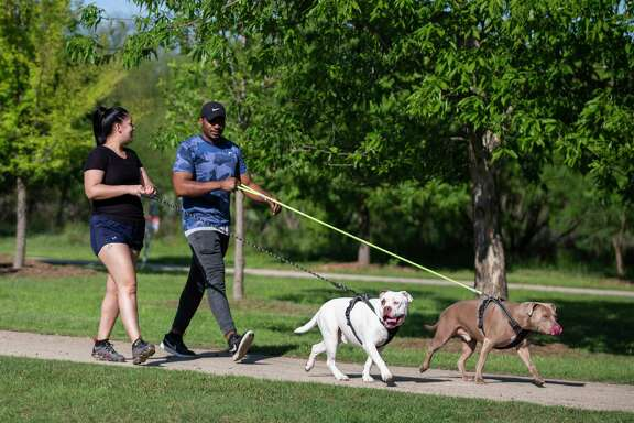 People walks their dogs at McAllister Park last week. Parks will be closed Easter weekend except for hiking, biking and running.