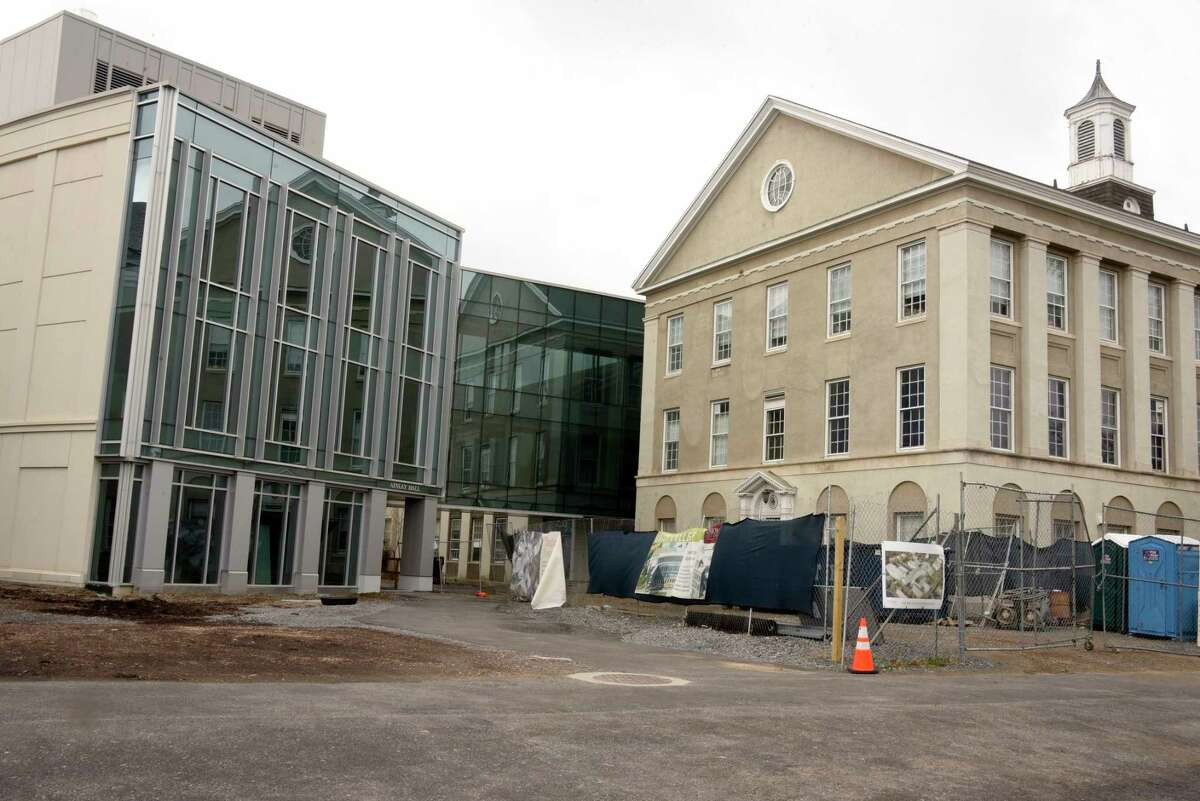 Construction for the new science and engineering building is seen on an empty Union College on Friday, April 10, 2020 in Albany, N.Y. Colleges brace for financial fallout over COVID-19. (Lori Van Buren/Times Union)