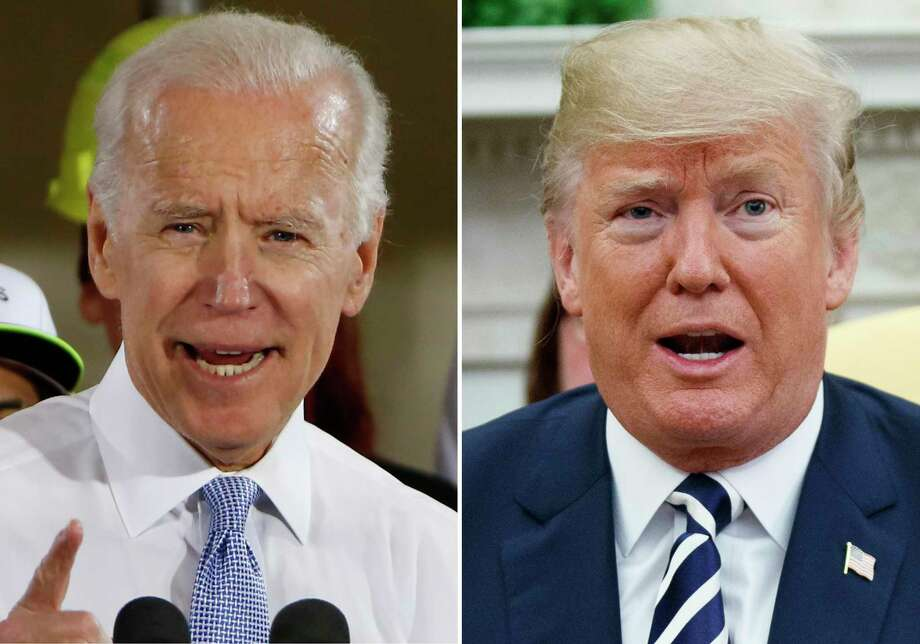 FILE - In this combination of file photos, former Vice President Joe Biden speaks in Collier, Pa., on March 6, 2018, and President Donald Trump speaks in the Oval Office of the White House in Washington on March 20, 2018. For a moment, West Virginia looked like it was going to be the only state in the country to allow betting on the presidential election. The short-lived play by bookmaker giant FanDuel was approved by the state lottery board. But it was announced and nixed within the span of about two hours Tuesday, April 7, 2020 in a bizarre sequence that appeared to baffle top government officials. Republican Gov. Jim Justice said it was ridiculous and he didn't know why the lottery commission would approve such a deal. (AP Photo) Photo: Associated Press / Copyright 2020 The Associated Press. All rights reserved.