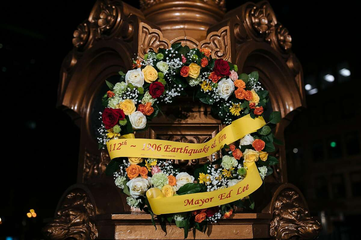 A wreath dedicated to former Mayor Ed Lee during the commemoration of the 112th anniversary of the 1906 earthquake and fire at the Lotta's Fountain In San Francisco, Calif., Tuesday, April 17, 2018.