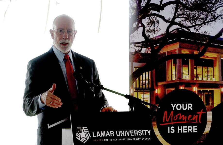 "Lamar University President Dr. Ken Evans addresses the gathering for a groundbreaking ceremony at the university's new welcome center on Jim Gilligan WayThursday. He echoed sentiments made by Fred Vernon, President-elect of the Alumni Advisory Board, that the new center will provide a much needed asset for the students, staff, alumni, vendors, and the community at large. Vernon said the lack of a clear entry to the campus said, ""It's like we've been a house without a front door.""  The university earlier in the day sent out notification to students and staff announcing that classes weould move to online or other remote modalities when classes resume after Spring Break.  Photo taken Thursday, March 12, 2020 Kim Brent/The Enterprise Photo: Kim Brent / The Enterprise / BEN"