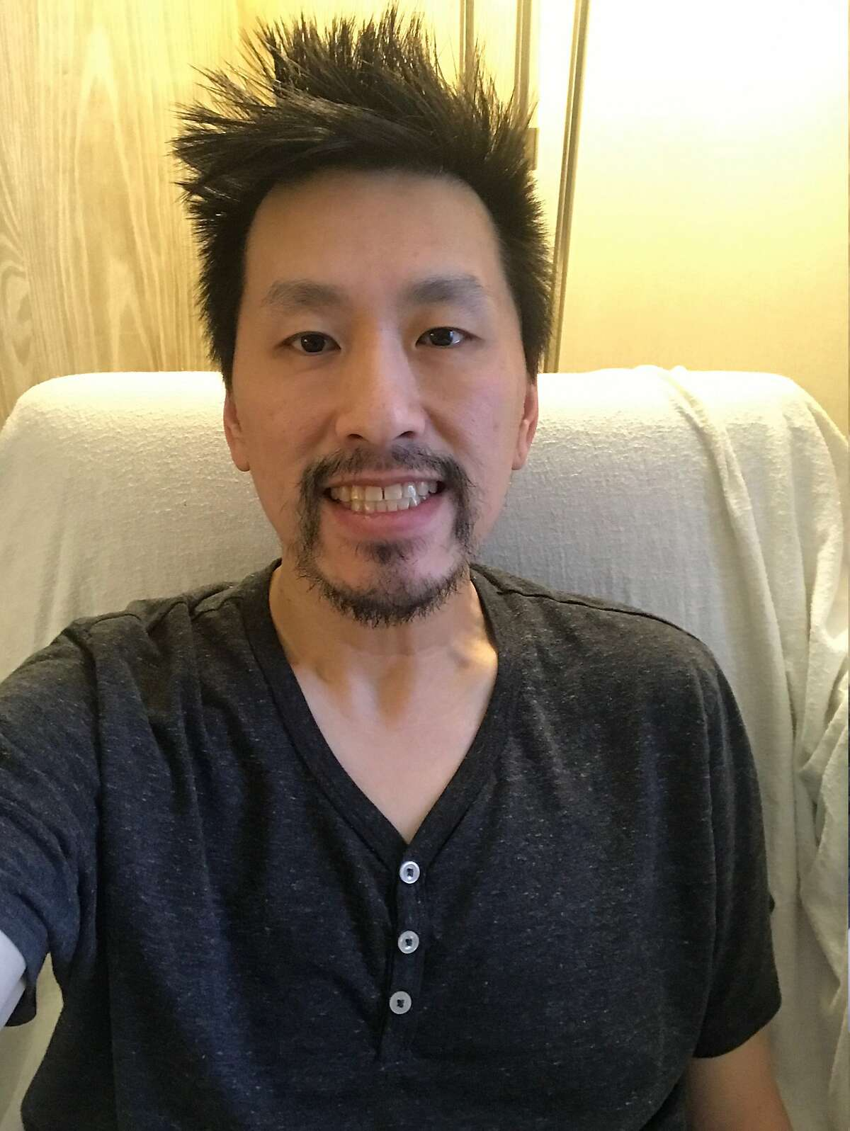Ken Loo on April 1, the day he was moved from the hospital to his hotel in quarantine.