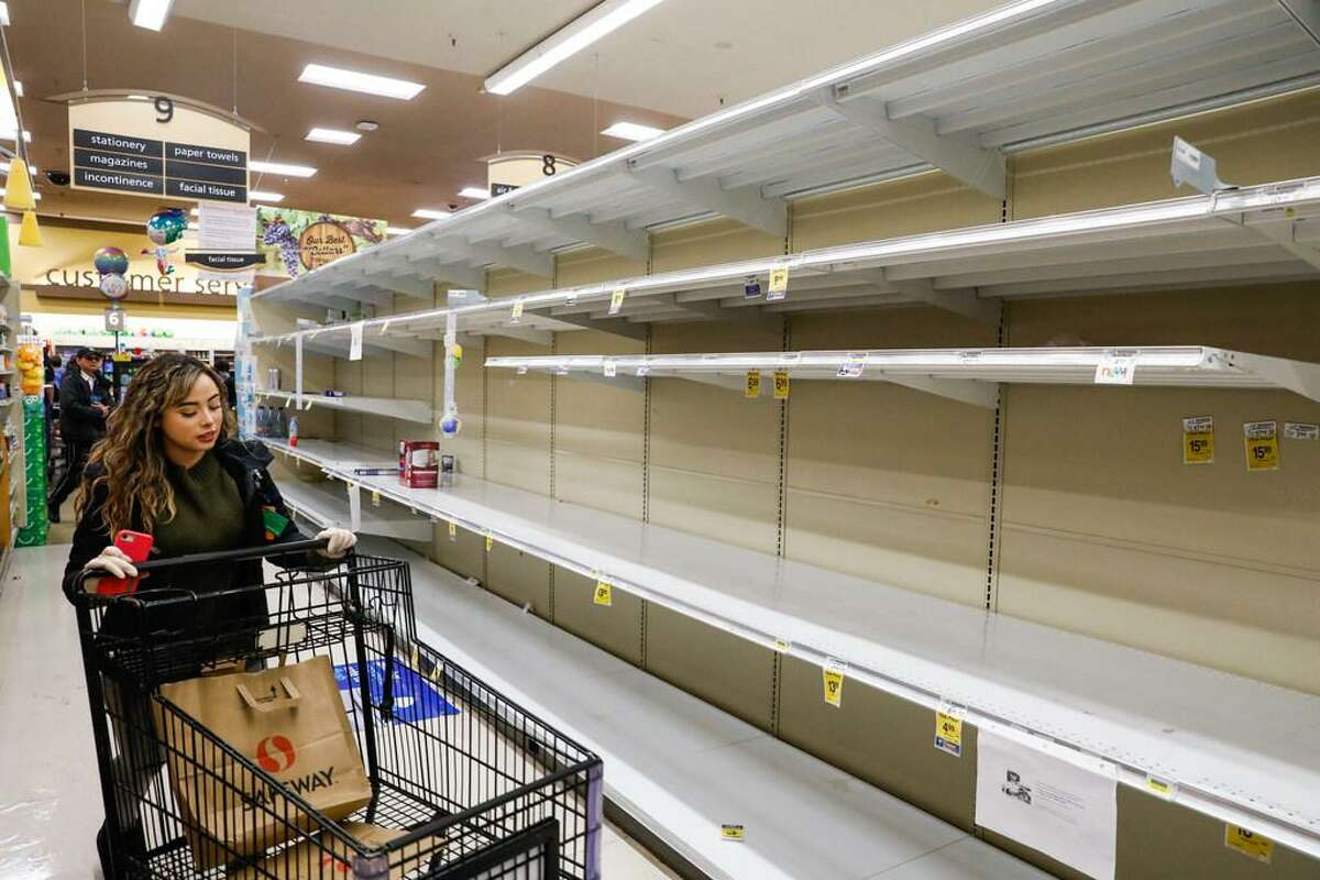 The coronavirus has caused shoppers to stock up on water and toilet paper.