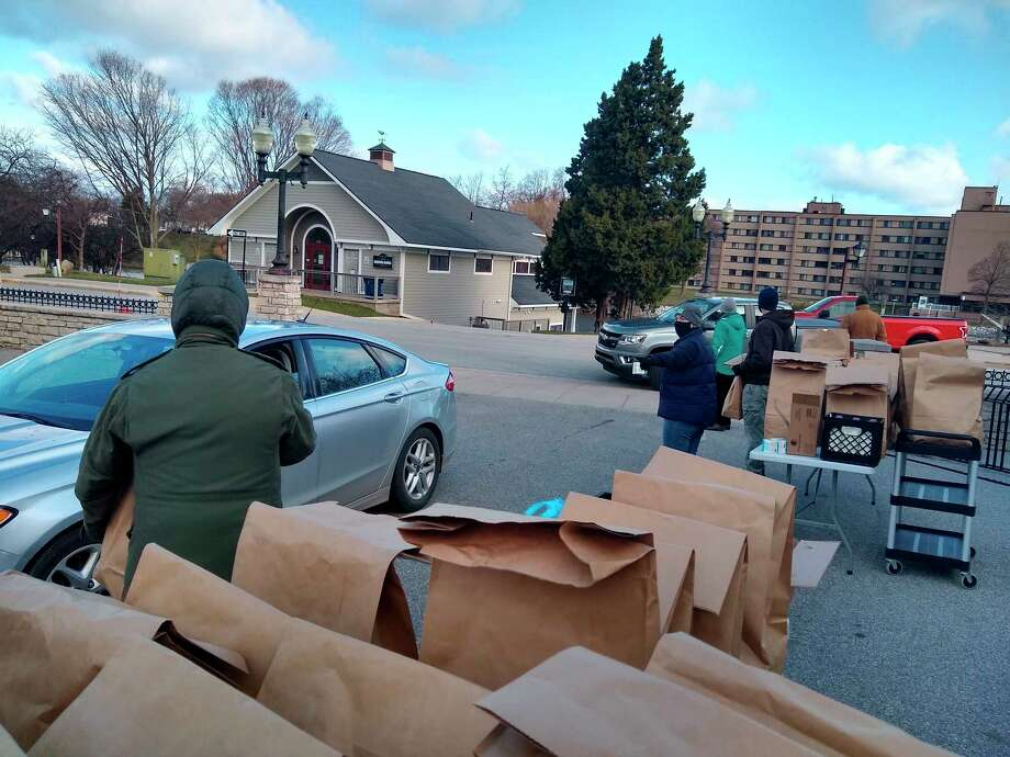 Friday's produce food bank at the senior center was very well attended. The Manistee County Council on Aging served nearly 240 seniors at this food bank. (Courtesy Photo/Jeanne Barber)