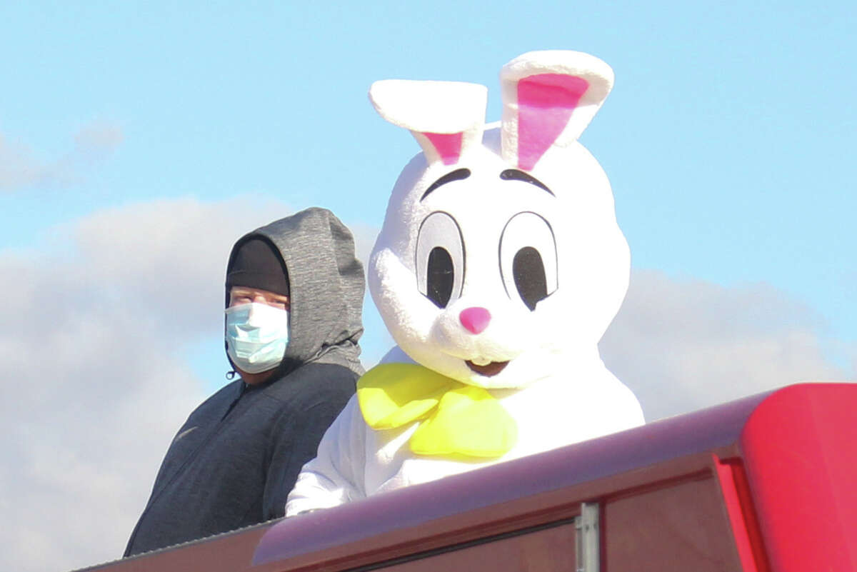 The Easter Bunny made a special appearance in Elkton on Friday evening to drop off some surprises for kids. Mr. Bunny had some help from the Elkton Lions Club and the Oliver Township Fire Department.