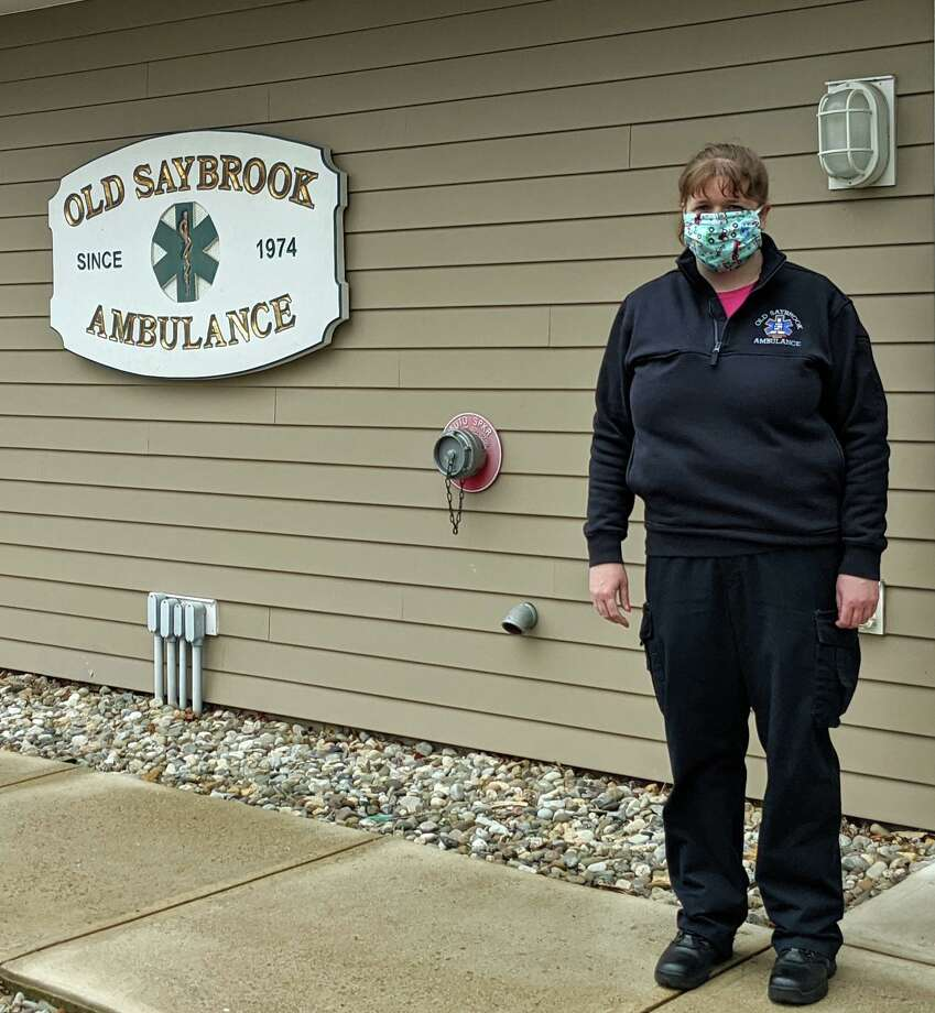Katie Rochette wearing one of the masks. Photo: Ann Gamble / For Hearst Connecticut Media