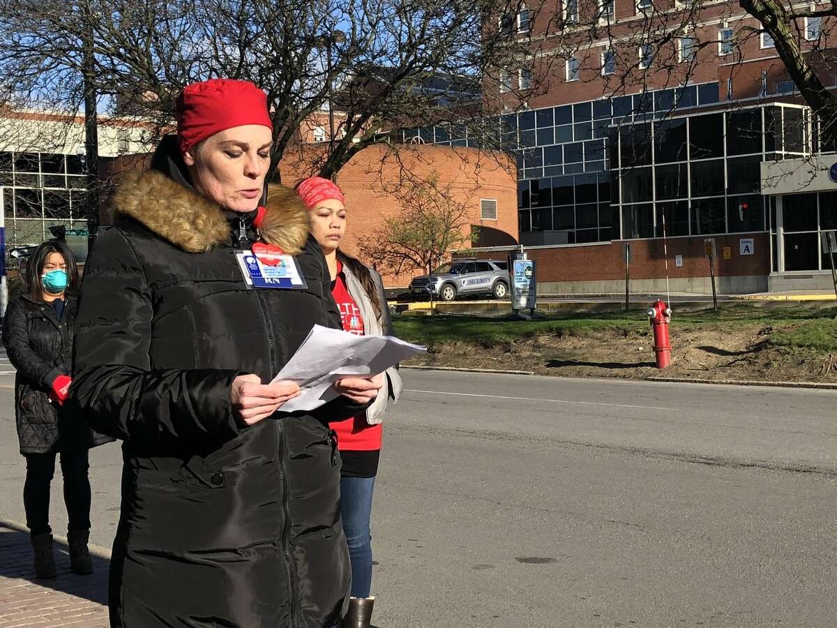 Lenore Granich-Berghela, a Critical Care Support Service Stat Nurse at Albany Med, voices her concerns about rewearing one-time use masks.