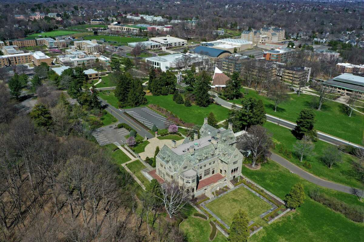 A drone view over Fairfield University.